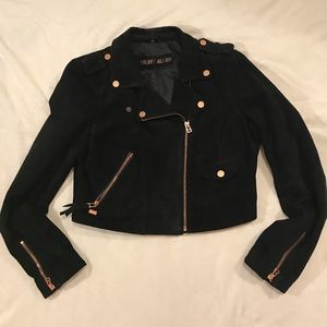 {Freaky Nation} Black leather moto biker jacket